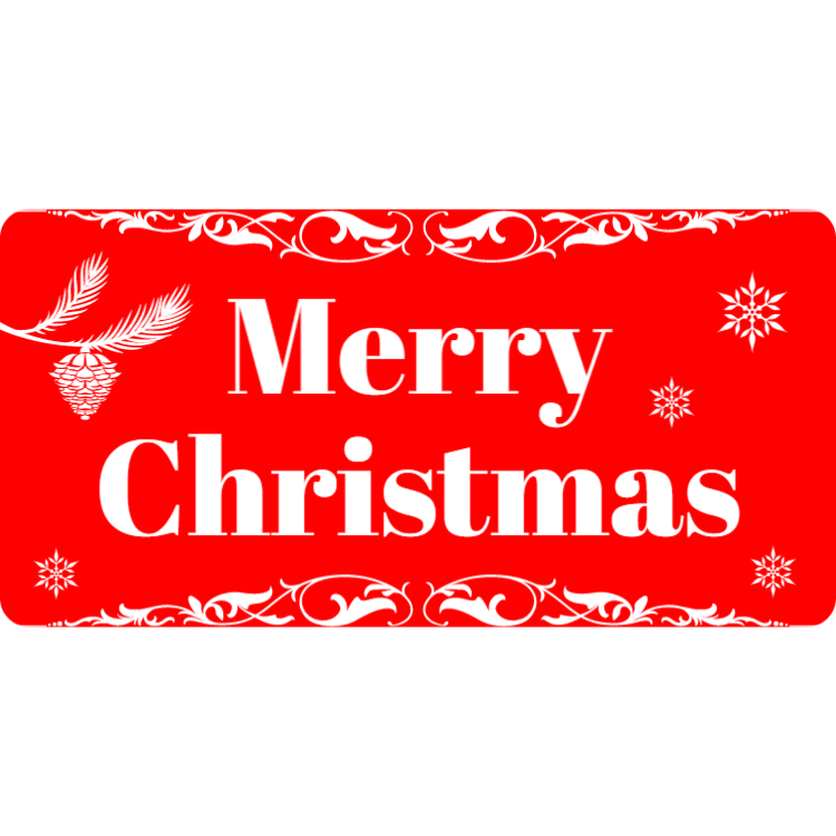 Merry Christmas - red plastic landscape sign