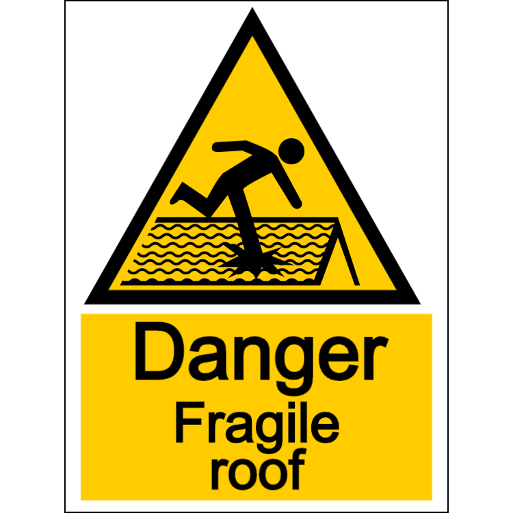 Danger fragile roof - portrait sign