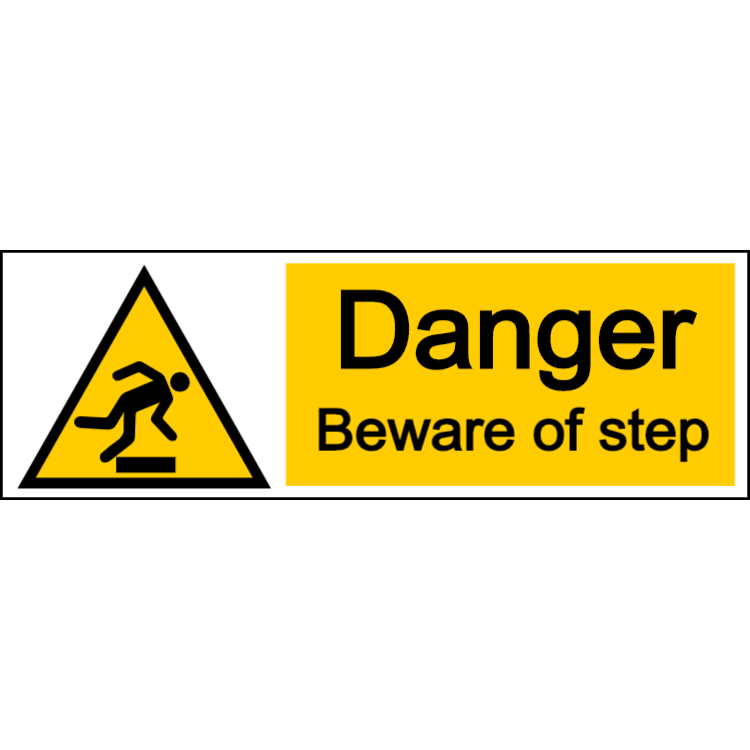 Danger beware of step - landscape sign