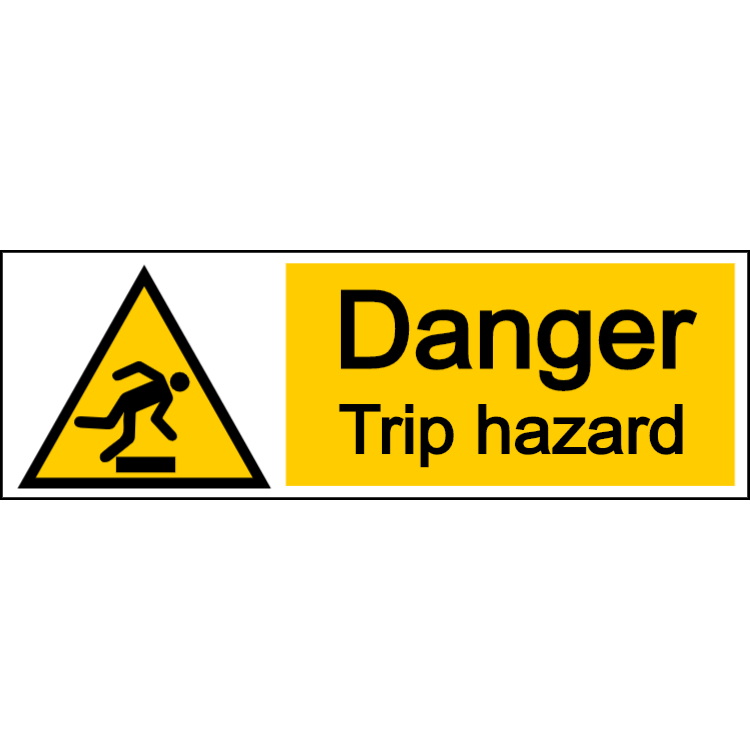 Danger trip hazard - landscape sign