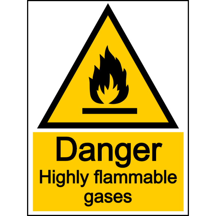 Danger highly flammable gases - portrait sign