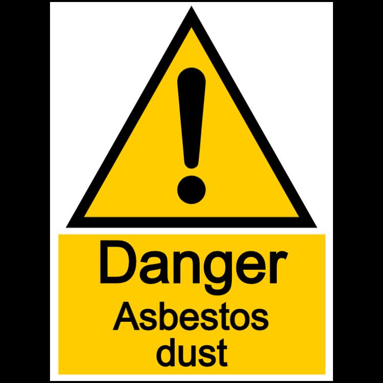 Danger asbestos dust - portrait sign