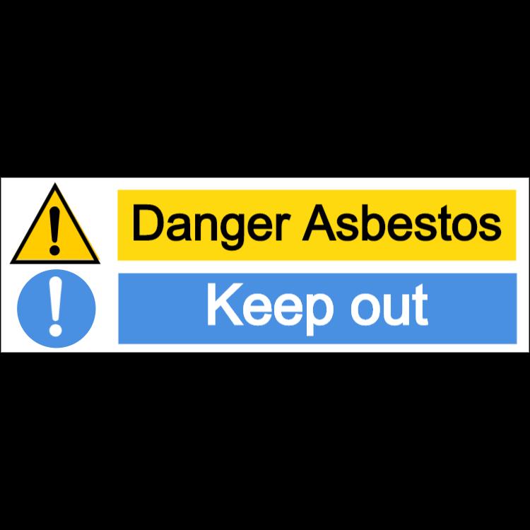 Danger asbestos/keep out - landscape sign