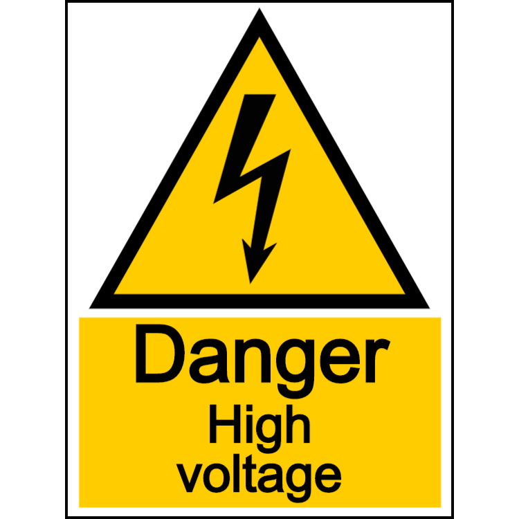 Danger high voltage - portrait sign