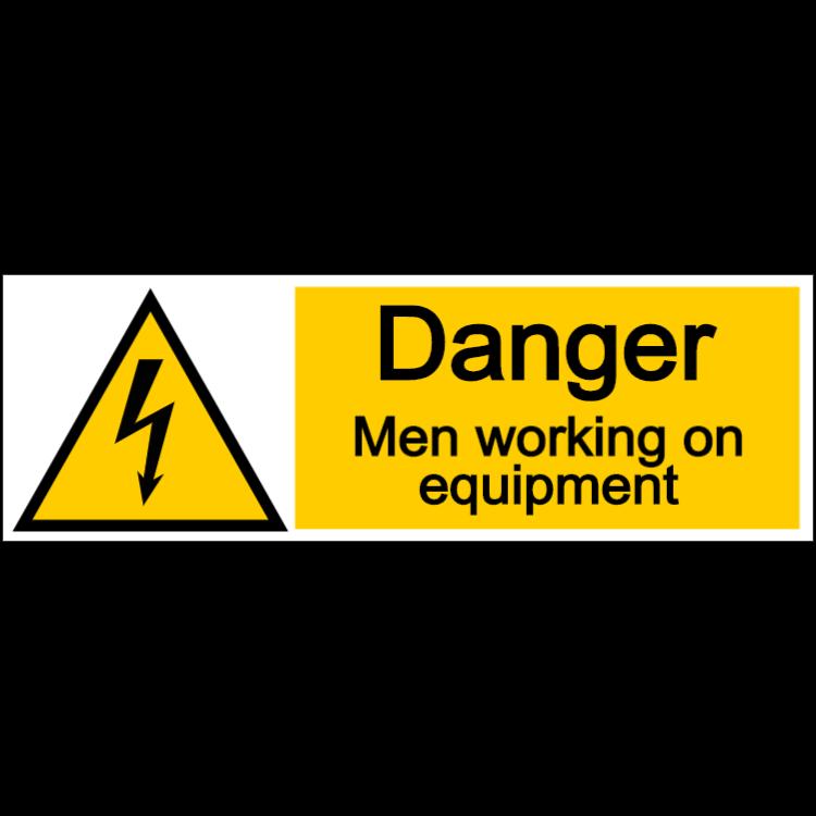 Danger men working on equipment - landscape sign