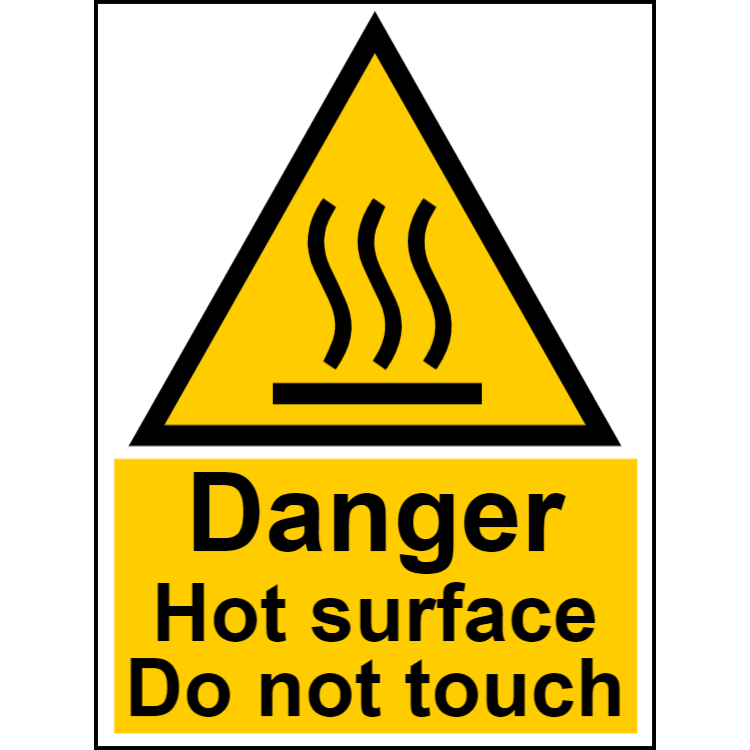 Danger hot surface do not touch - portrait sign