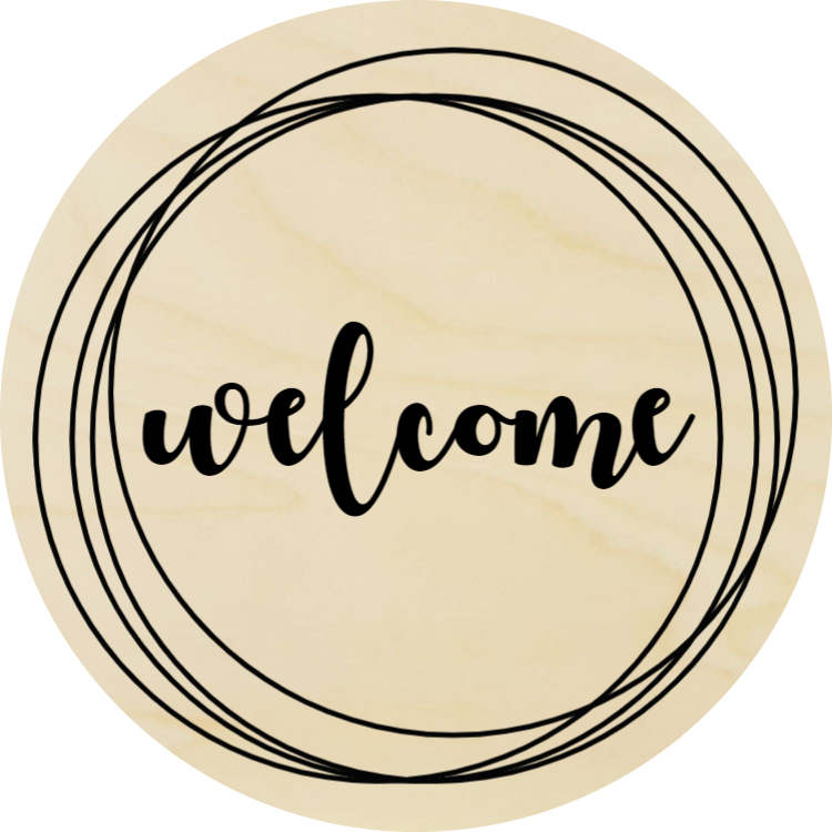 Rounded welcome sign