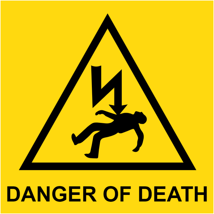 Danger of death square sign