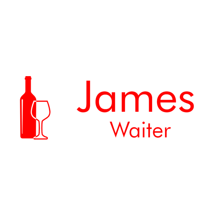 White and red name tag for waiter