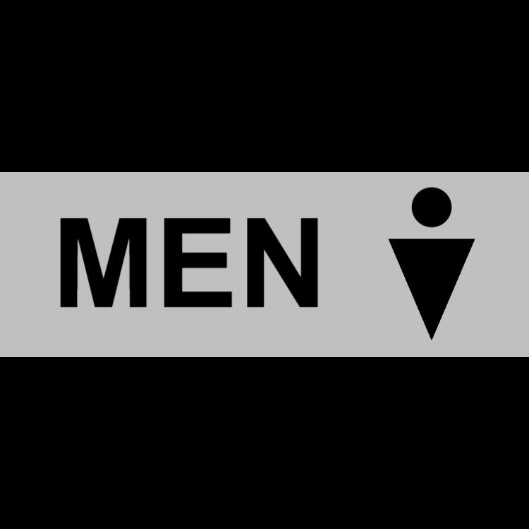 Silver toilet sign - men