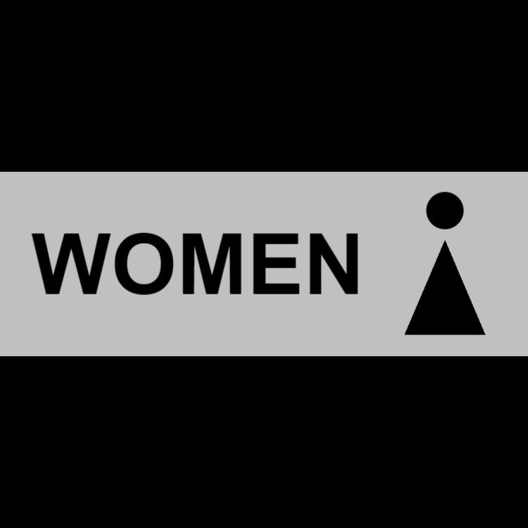 Silver toilet sign - women