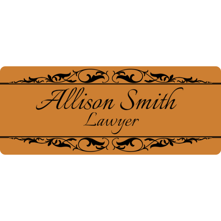 Smooth gold name plate