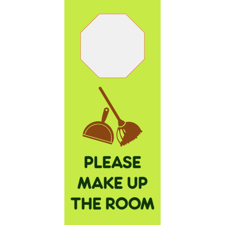 Make up the room - printed plastic - door hanger