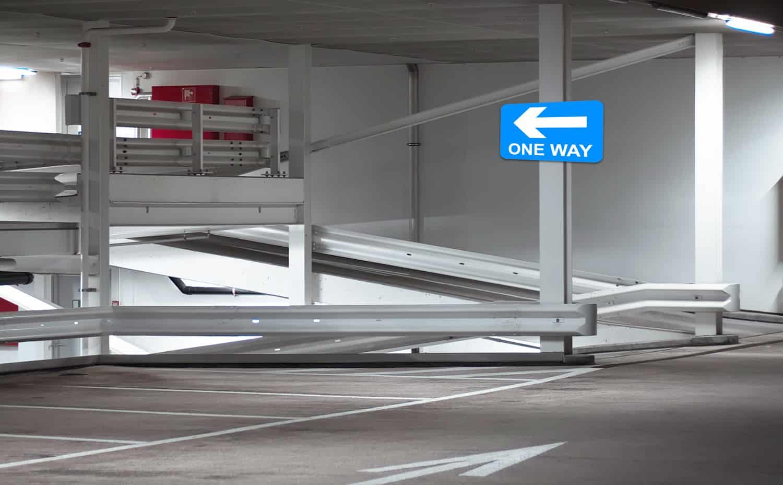Underground parking signs