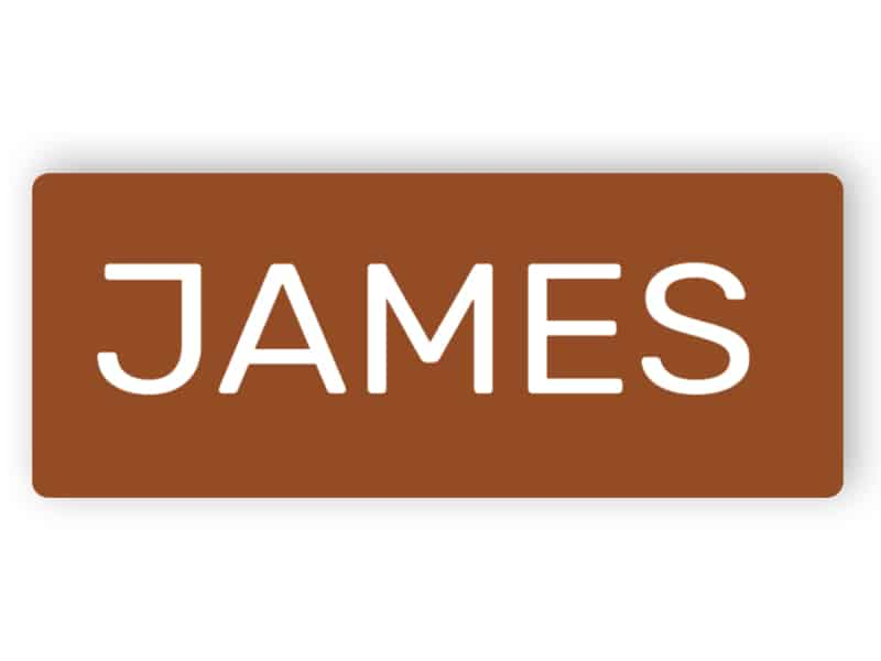 Laser engraved brown plastic name badge