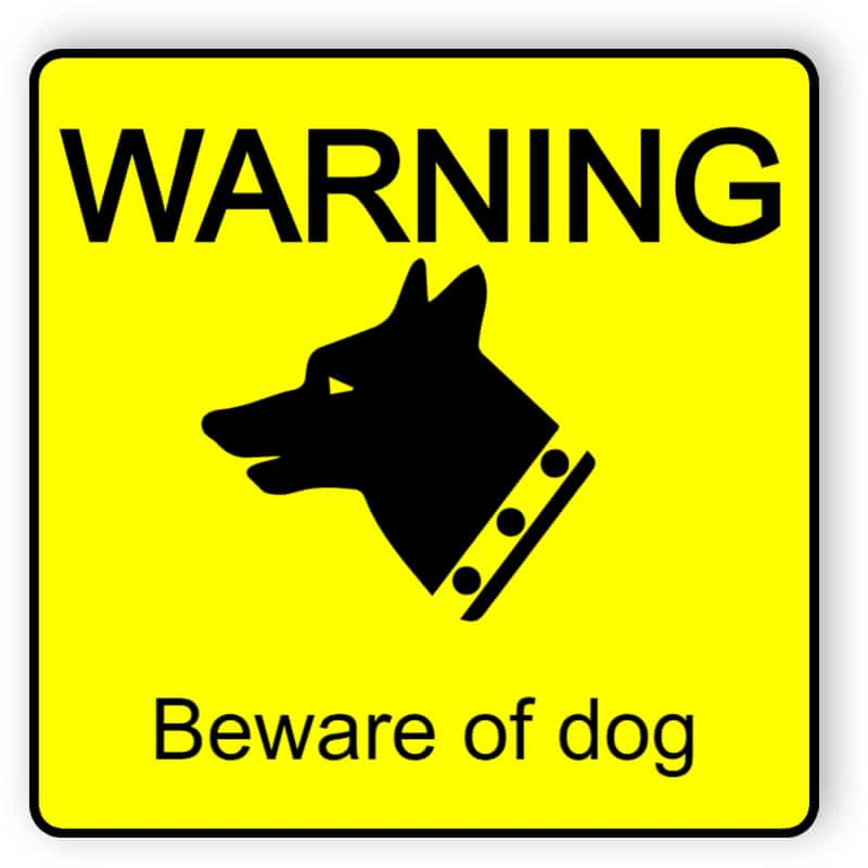 Beware of Dog - yellow plastic engraved sign