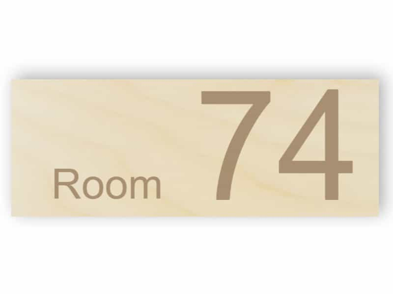 Wooden room number - rectangular