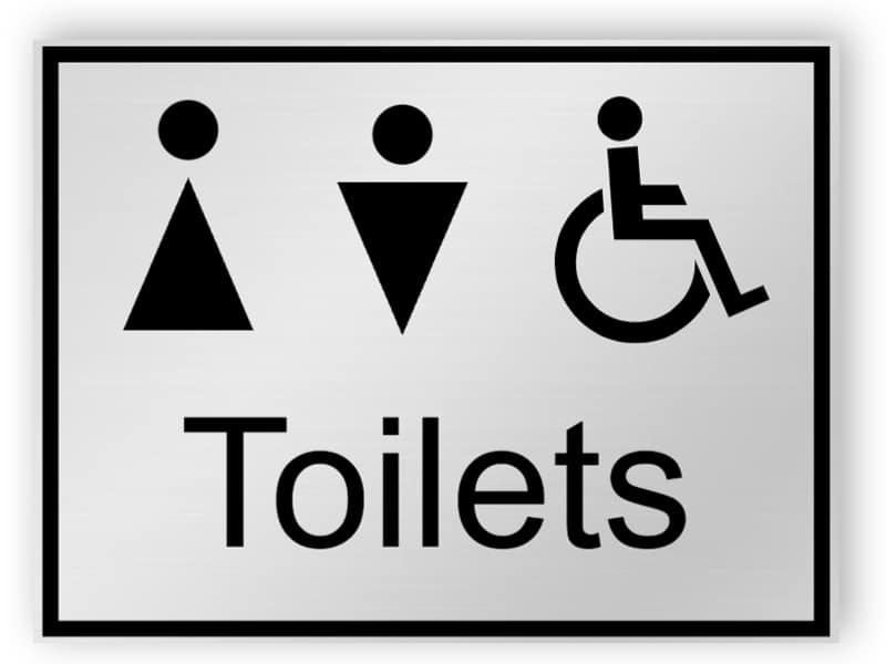 Silver toilets sign - men, women, disabled