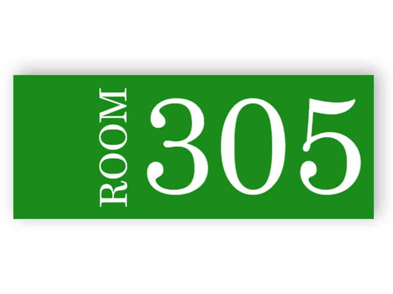 Green room number sign