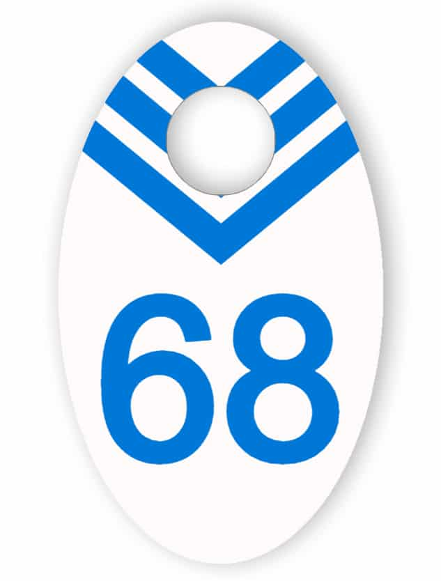 White and blue cloakroom tag