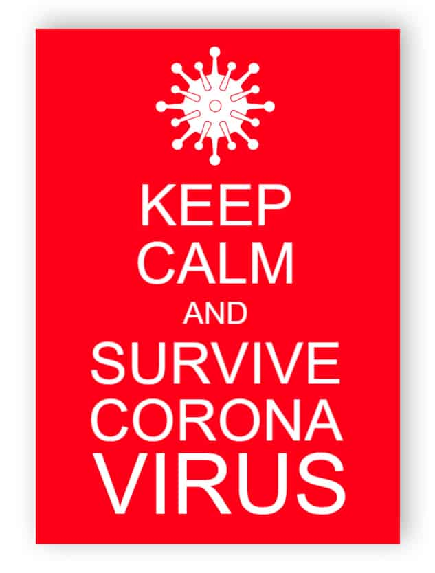 Keep calm and survive coronavirus - sticker