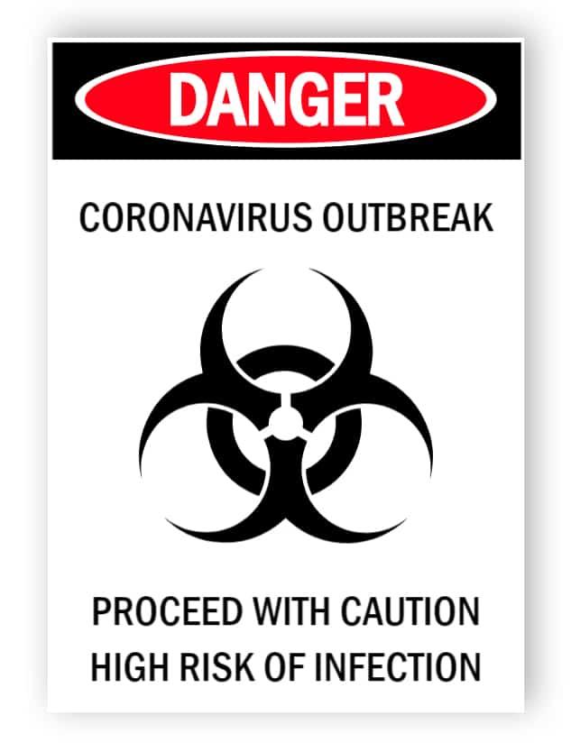Danger - coronavirus outbreak - sticker