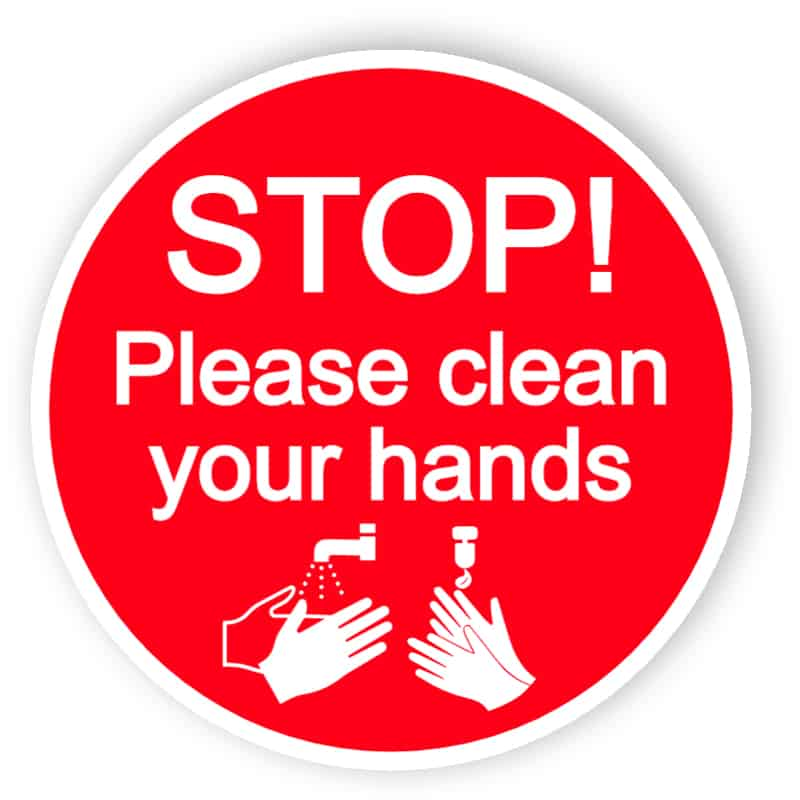 Stop, please clean your hands - sticker