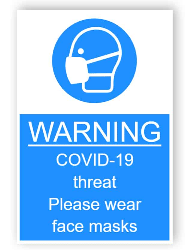 Warning - Covid-19 threat, please wear face masks - sticker