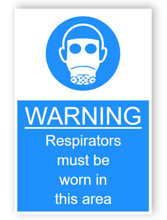 Warning - Respirators must be worn in this area - sticker