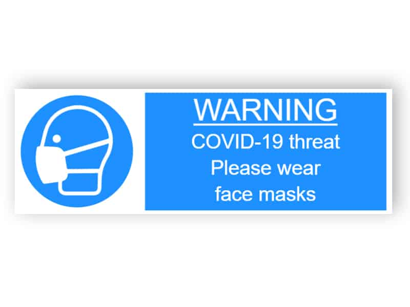 Warning - Covid-19 threat, please wear face masks - landscape sticker