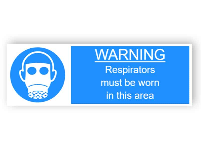 Warning - Respirators must be worn int this area - landscape sticker
