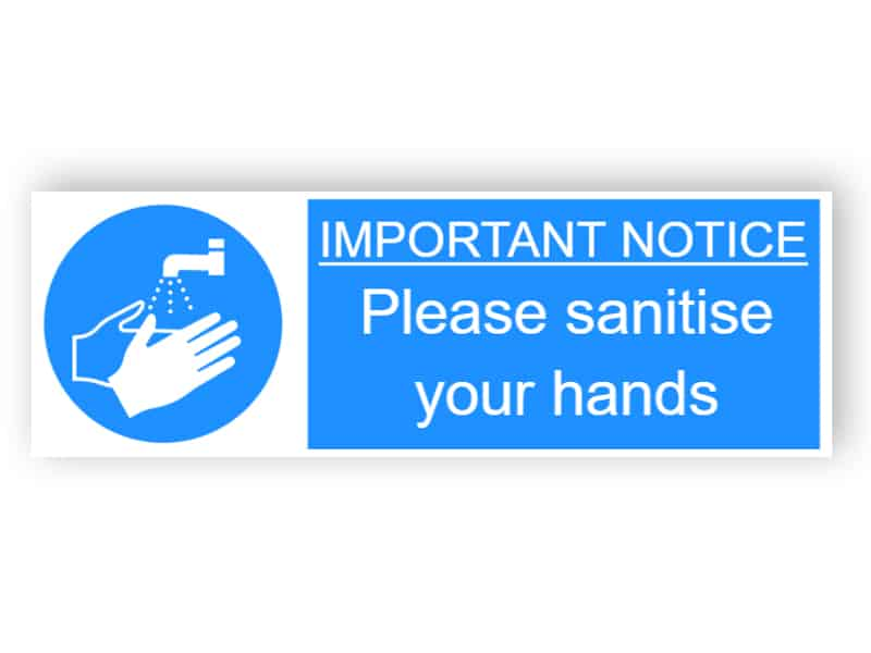 Important notice - Please sanitise your hands - landscape sticker
