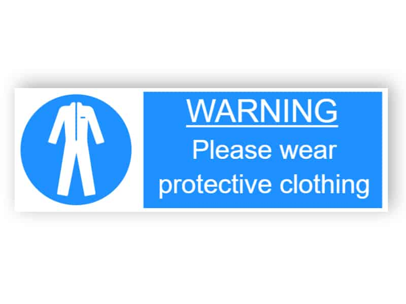 Warning - Please wear protective clothing - landscape sticker