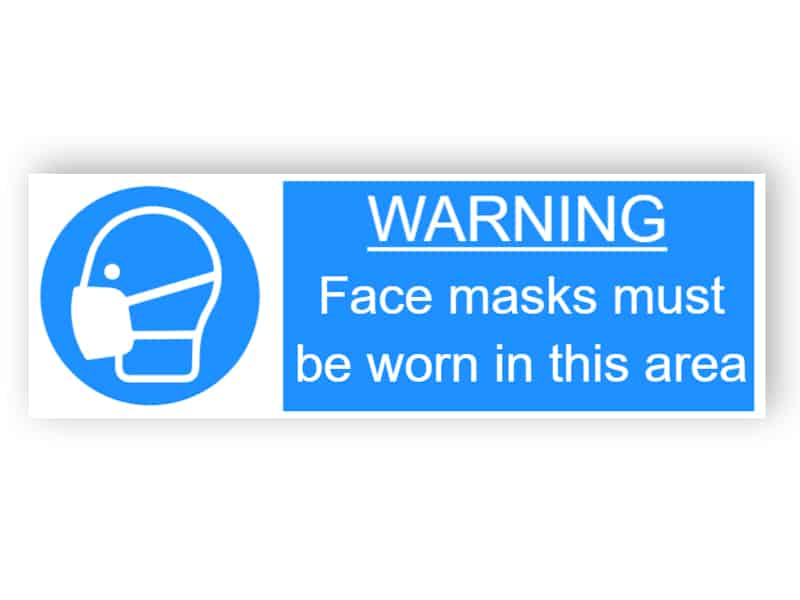 Warning - Face masks must be worn in this area - landscape sticker