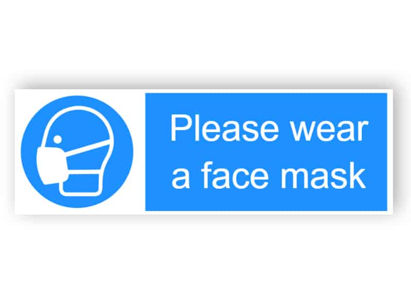 Please wear a face mask - landscape sticker