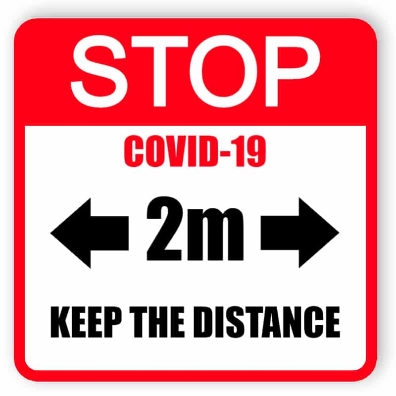 Stop covid-19, keep the distance - red sticker