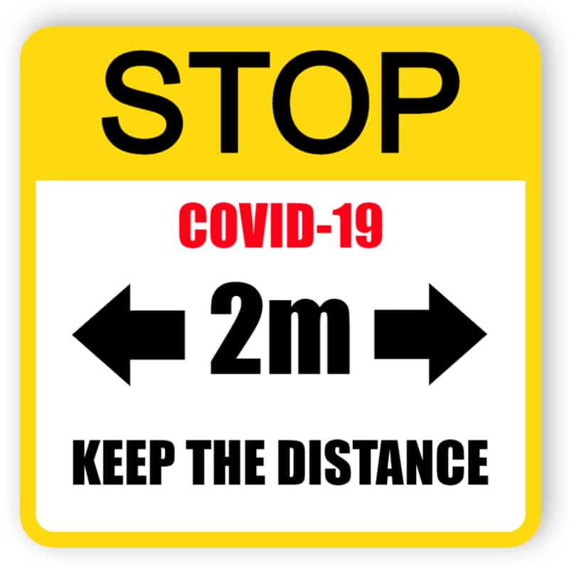 Stop covid-19, keep the distance - yellow sign