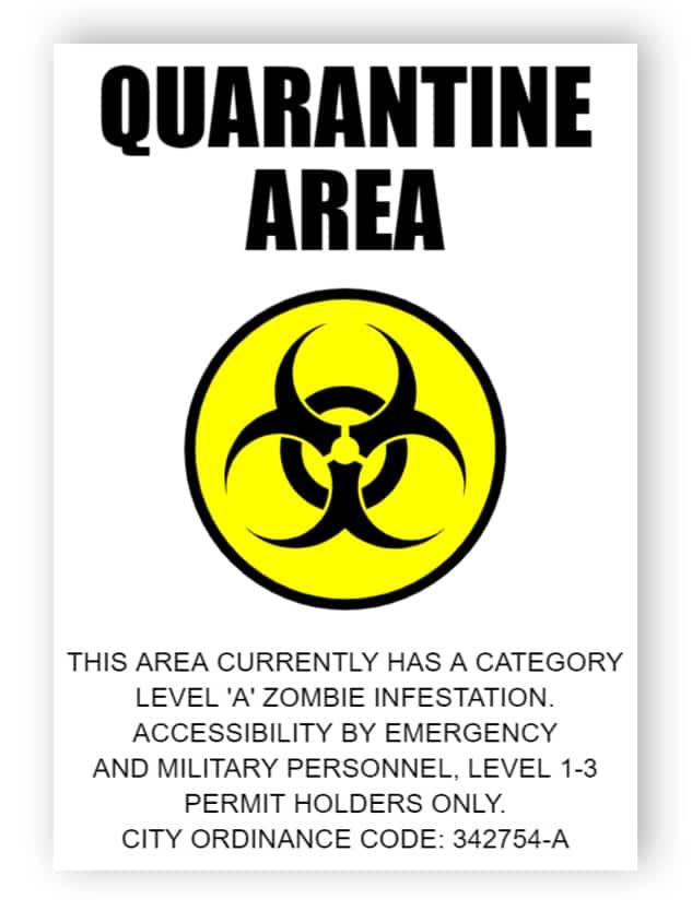 Quarantine area - sticker
