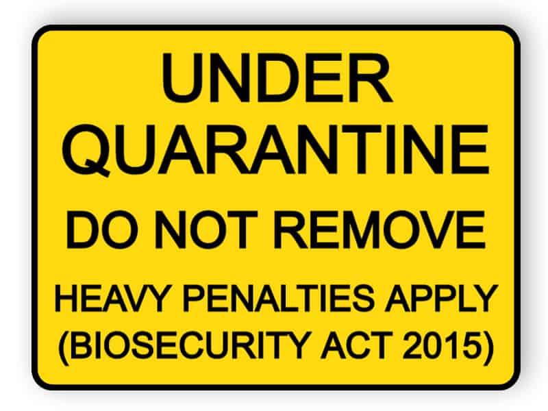 Under quarantine - do not remove - sticker